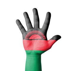 Open hand raised, Malawi flag painted