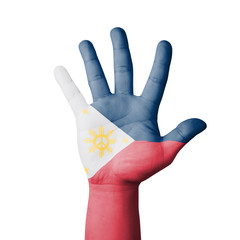 Open hand raised, Philippines flag painted