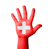 Open hand raised, Switzerland flag painted