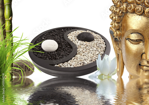 composition zen, Bouddha, yin yang, bambou
