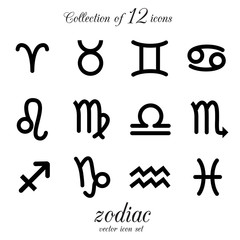 Collection of 12 zodiac icons. VECTOR illustration.