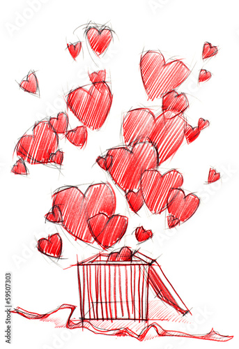 Sketch Drawing Box with Hearts, isolated on white
