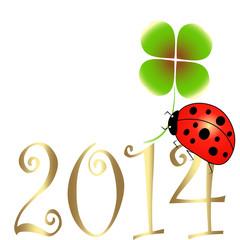 neujahr, sylvester, jahresanfang,2014, marienkäfer,klee,vektor