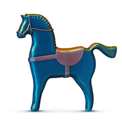 blue toy metal horse isolated on white
