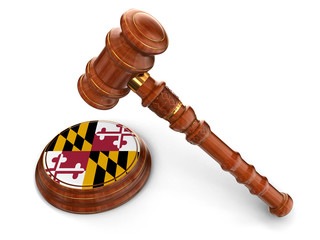Wooden Mallet and flag Of Maryland (clipping path included)