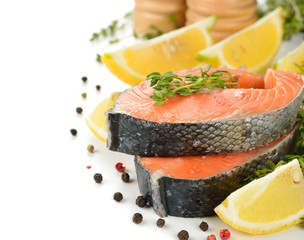 Raw salmon with herbs and spices