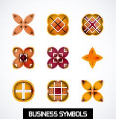 Colorful geometric business symbols. Icon set