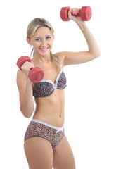 Blonde 34 years old, leopard lingerie, trains with plastic dumbb