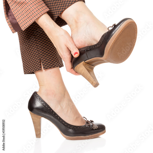 Business woman tired feet
