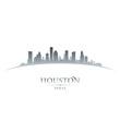 Houston Texas city skyline silhouette white background