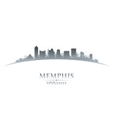 Memphis Tennessee city skyline silhouette white background poster