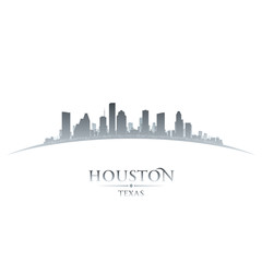Houston Texas city skyline silhouette white background