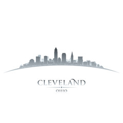 Cleveland Ohio city skyline silhouette white background