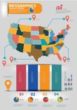 America map,Infographics design,vector