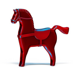 red toy metal horse isolated on white
