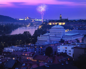 nice wiev on fireworks at Prague capital of Czech republic