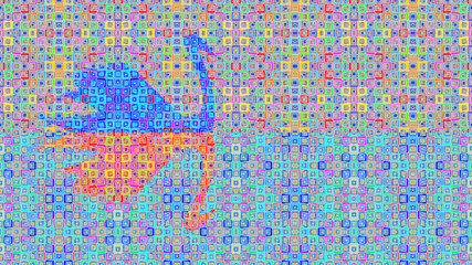 Colored abstract pattern of elements retro background swan