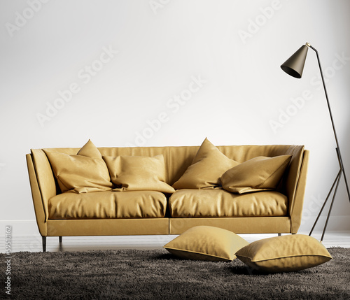 Light orange leather sofa in fresh contemporary style interior