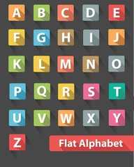 Flat alphabet icons,Colorful version,vector