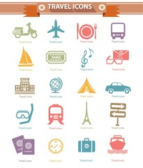 Travel icons,Colorful version