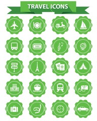 Travel icons,Green version,White background