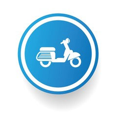 Motorcycle symbol button on White background