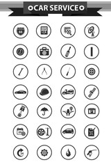 Car service concept icons,Black version,vector