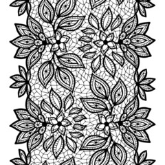 Old lace seamless pattern, ornamental border. Vector texture.