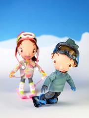 スノーボーダー男の子スキーヤー女の子