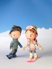 スキーヤーの女の子とスノーボーダーの女の子