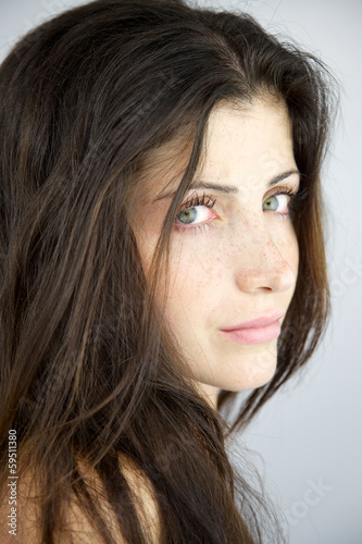 Female model without makeup and no retouch