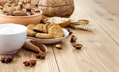 Cookies with Cocoa, Flour, Spices and Nuts