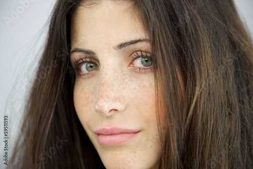 Closeup of woman without makeup