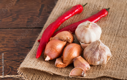 Garlic, onion and red pepper