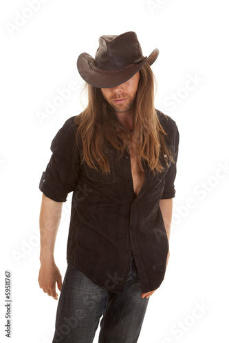 cowboy long hair eyes hidden