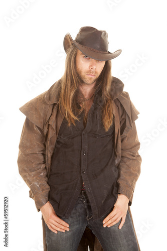 cowboy duster long hair serious