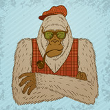 Melancholic Yeti with Smoking Pipe, Tartan Waistcoat and Hat