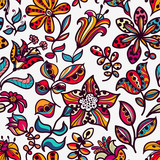 Fototapety Floral  seamless pattern of flowers and leaves
