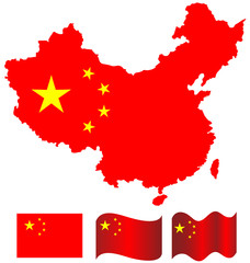 China map and flag of China