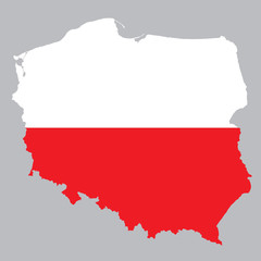 map and flag of Poland on grey background