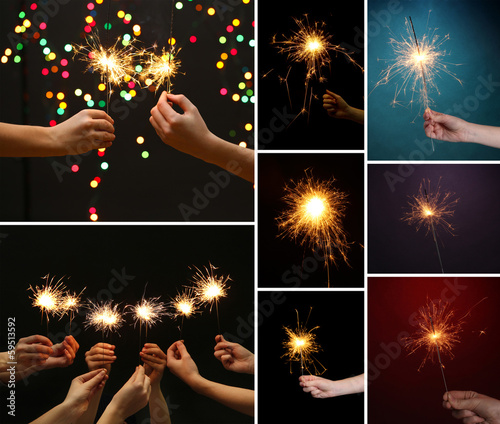 Collage of beautiful sparkler in hands
