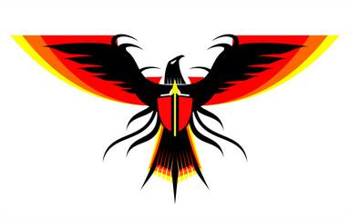 Eagle, falcon, spreading wings