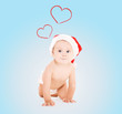 cute baby in santa helper hat