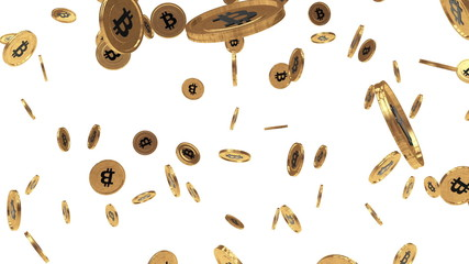 Bitcoin rain on white background
