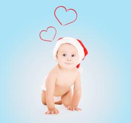 cute baby in santa helper hat