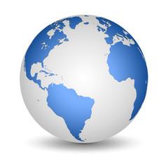 White and Blue globe