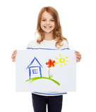 Fototapety smiling little child holding picture of house