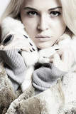 Beauty blond Model Girl in Mink Fur.Beautiful Woman.Winter