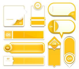 Set of orange vector progress, version, step icons. eps 10