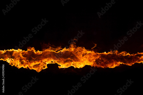 Plexiglas Vuur / Vlam Blazing flames on black background